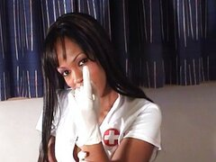 Long nippled ebony gives blowjob in gloves