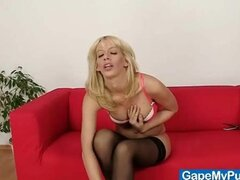Blonde babe Paris uses pussy gape spreader