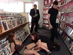 Sexy Babes Have Fun With One Another's Pussies At A Public Bookstore