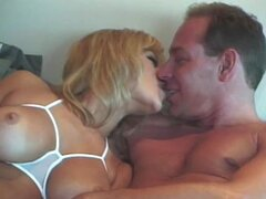 Eric Price licks and drills Jill Kelly's shaved pussy and cums on her boobs