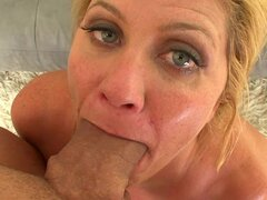 Top cougar blowing cock