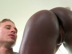 Ebony girl with Bubble ass gives blowjob