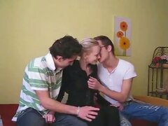 Sweet teens in a super hot young threesome