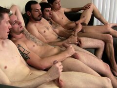 These dudes are playing a form of circle jerk while one dude waits