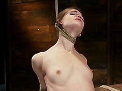Girl next door, severely bound and helpless YL Stripped, elbows bound, legs split, multi-orgasms!