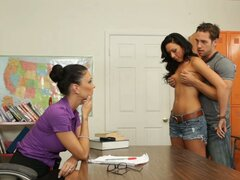 Strict teacher Jessica Jaymes watches how her students please each other