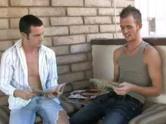 Two hot college boys jerk each other off for cash.