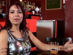 Milf Latina wearing stockings gets fucked in the bar