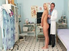 Vagina exam of an attractive sexy blonde