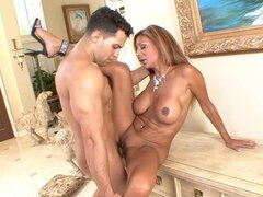 A frisky mature mom seduces a fresh faced hunk to come and ride her silly