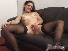 Nasty brunette housewife eats his stiff boner and gets a facial