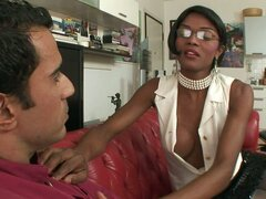 White Guy Rides A Black Transsexual Beauty