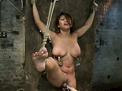 Hot Flexible Asian with big tits & nipples gets her leg pulled up & suspended!