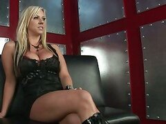 Horny blonde Carolyn Reese feels real hot stripping for one burning action