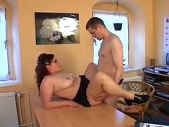 Sexy fat girl fucked on a desk in a skirt