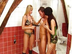 Two military babes fucking a guy