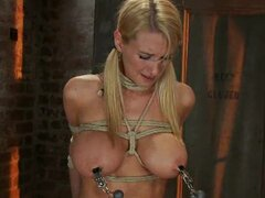 blonde slut with big boobs get tied and fucked harshly