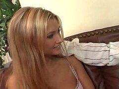 Sizzling blondie Ginger Lee gets fucked on the couch