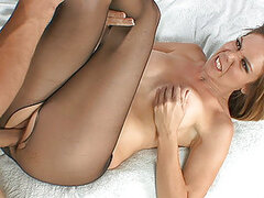 Kimber Lace ripos open pantyhose to get her pussy fucked deep and hard