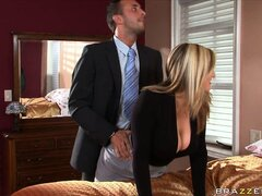 Hot blonde real estate slut is eager to sell the house and offers him benefits
