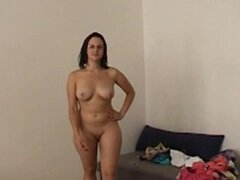 Busty brunette and erotic casting