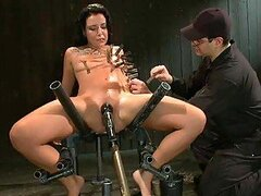 Gorgeous Brunette Babe Strapped and Fucked by Machine