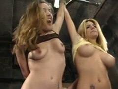 Astonishing BDSM sex with two crazy blondes