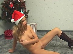 Hot Amelia in high boots and short red dress is stripping