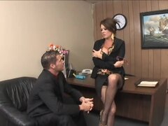 Milf in hot stockings wants office sex