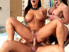 Lisa Ann and Kendra Lust having fun with his giant cock