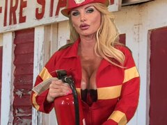 Glamorous blonde fuck with a fireman