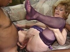 Blonde granny's interracial threesome
