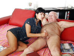 Teenage brunette gets dirty with grandpa tool