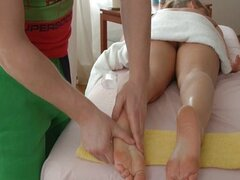 Sexy girl has gentle foot massage and fucked