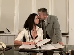 Creepy fucker takes advantage of his stunning secretary