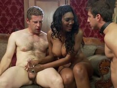 Hot black mistress dominates two white slaves with big cocks