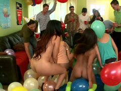 Kinky brunette girls get fucked at the college party