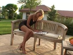 Romance on the Bench Outdoors with Sexy Blonde Mia Stone