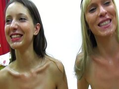 2 girls,  bukkake both swap and swallow cum