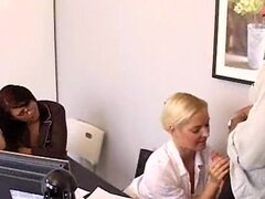 Office girl Barbara Summers gives a big blow-job while her friend spectates
