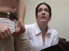 Hot secretary slut jerks off her tubby older boss