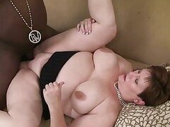 Chubby milf get hard fucked by a huge black cock !