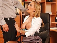 Tanya Tate is a lazy secretary and she's keep doing stupid mistakes at the office. Lucky for her she's a fine looking MILF with huge silicone boobs so that usually makes up for her. This time her boss David Perry came and asked her to rewrite a document t