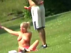 Hot Blonde Showing her Big Natural Tits In A Park