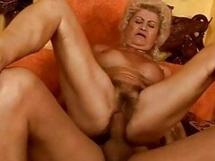 Naughty busty granny gets her pussy fucked hard