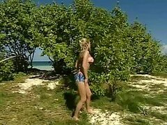 Kinky Blonde Girl Joins a Couple Having Sex at the Beach