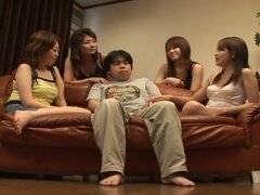 Four hot asian gals and one fat cock
