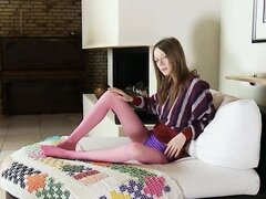 Drunk girl in purple nylon pantyhose