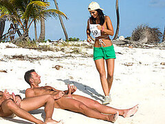 Threesome On The Beach With A Super Hot Brunette