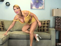 Ava Devine shows off her sweet fake titties during a sexy show